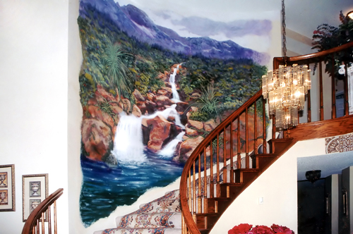 Nature Mural on stair case